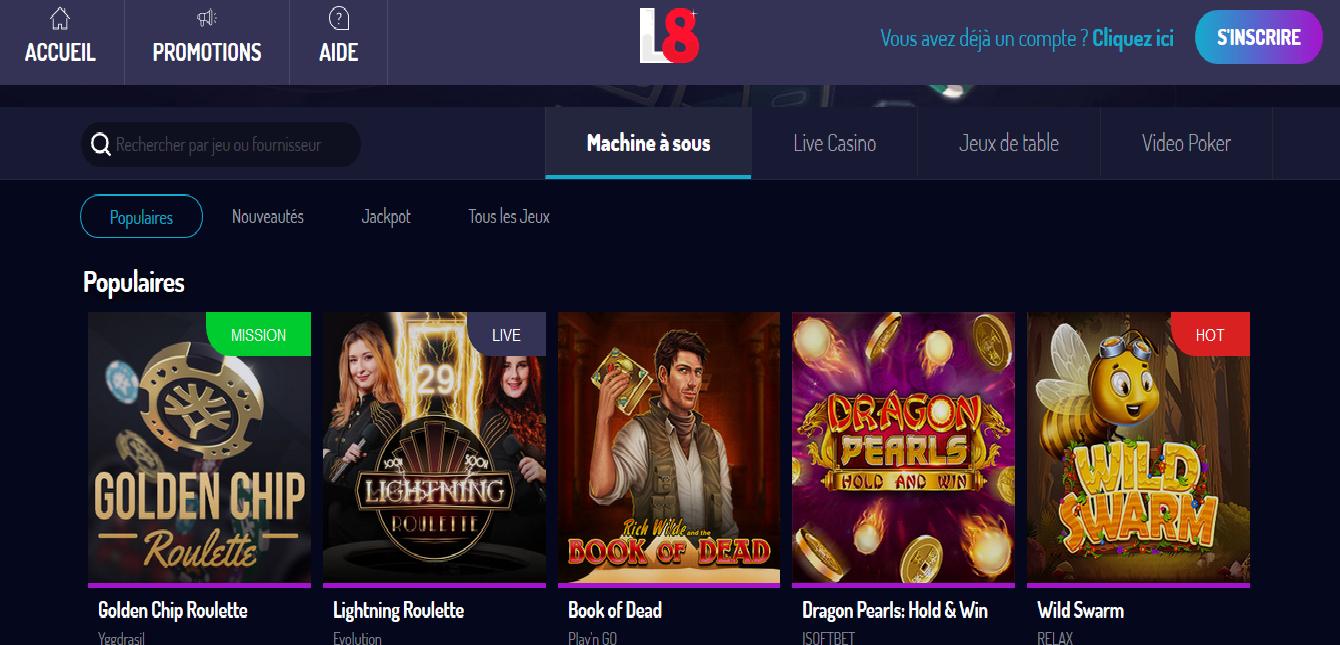 lucky8 jeux bonus